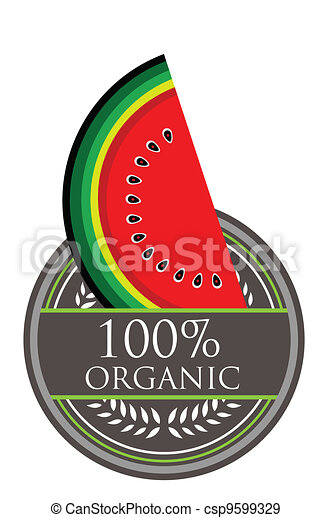 Watermelon Organic label - csp9599329