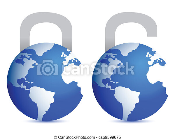 lock and unlock globes illustration - csp9599675