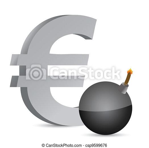 Vector - explosive euro profits symbol - stock illustration  royalty    Explosive Symbol Vector