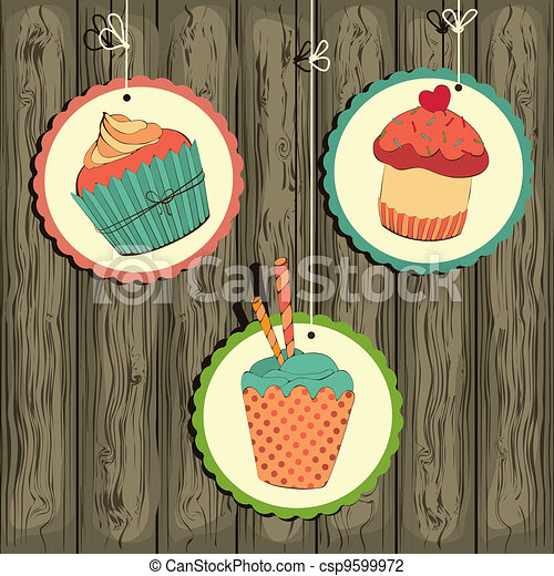 Cute retro cupcake on the string - csp9599972