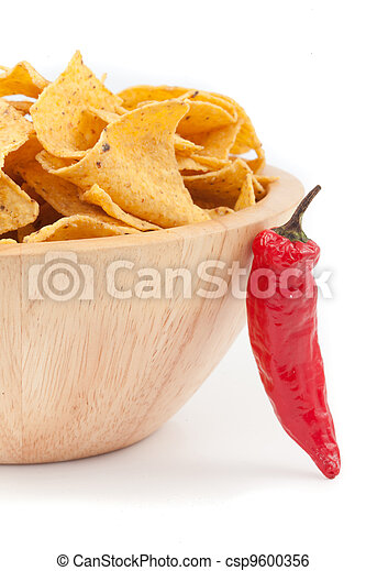 Pimento posed against a bowl full of crisps - csp9600356