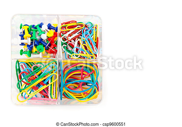 Box with multicolored of pushpins and paperclips - csp9600551