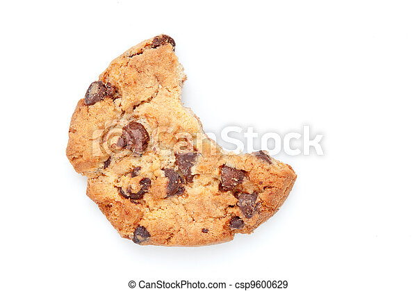 Close up of a cookie with a big part missing - csp9600629