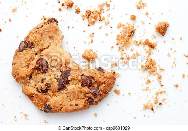 Close up of an half eaten cookie with crumb - csp9601029
