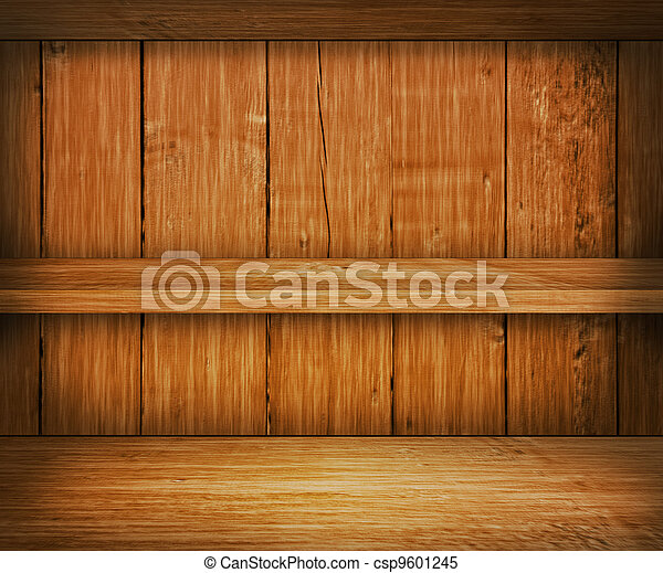 Oak Wooden Shelf Background - csp9601245