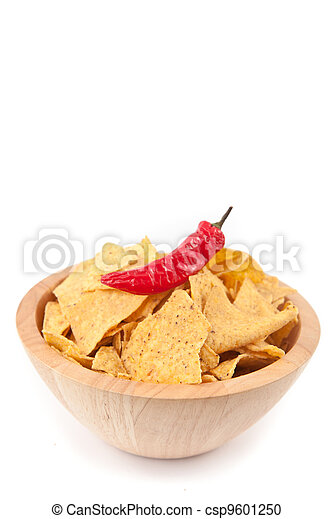 Pimento on a full bowl of crisps - csp9601250