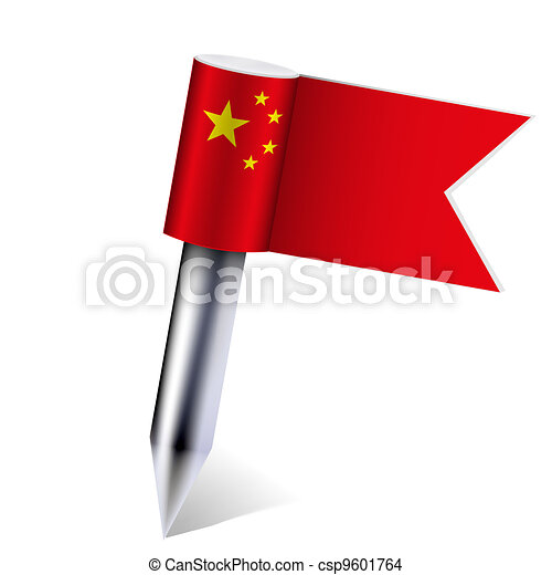 Vector China flag isolated on white. Eps10 - csp9601764