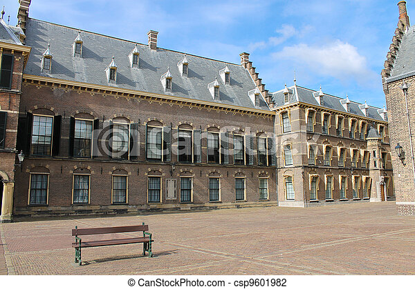 The Binnenhof at Den Haag, building of the dutch parliament and government  - csp9601982