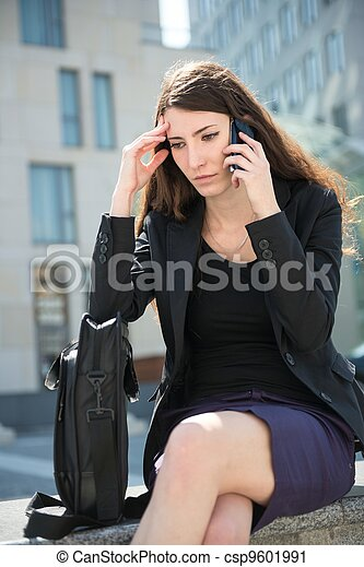 Business woman calling phone - problems - csp9601991