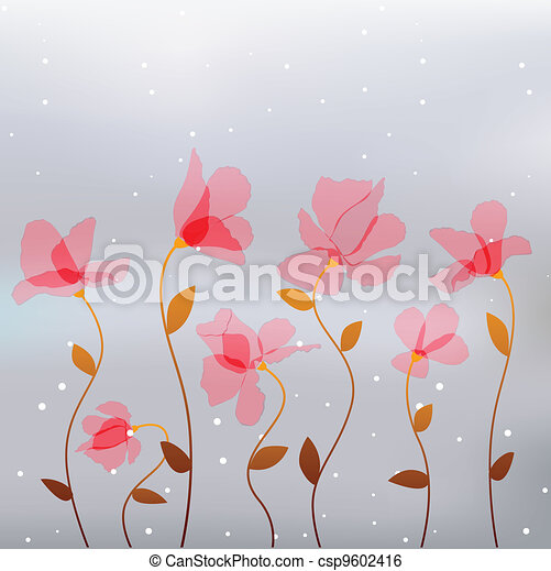 abstract transparency pink flowers - csp9602416