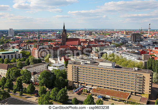 Overview on the center of Hannover, Germany. - csp9603238