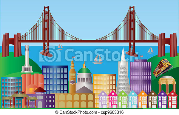 San Francisco City Skyline Panorama Illustration - csp9603316