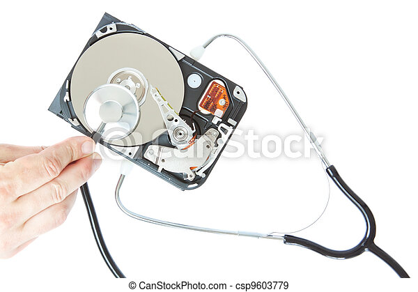 Diagnosis of a stethoscope hard drive. On a white background. - csp9603779