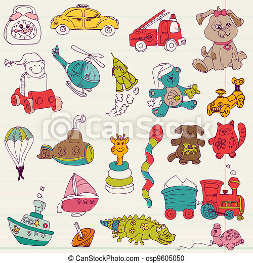 Baby Toys Doodles - for design and scrapbook - in vector - csp9605050