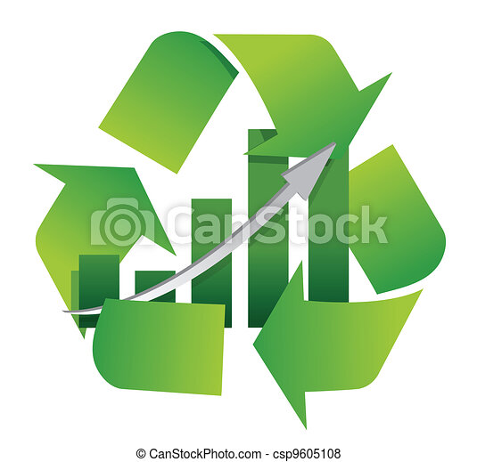 recycling symbol with a bar chart  - csp9605108