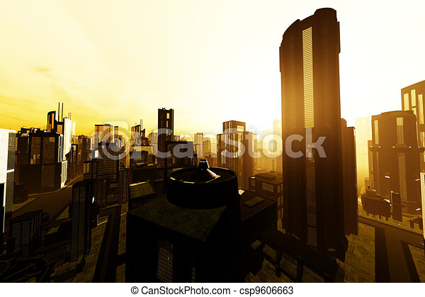 3D Future Metropolis Smoggy Sunset - csp9606663