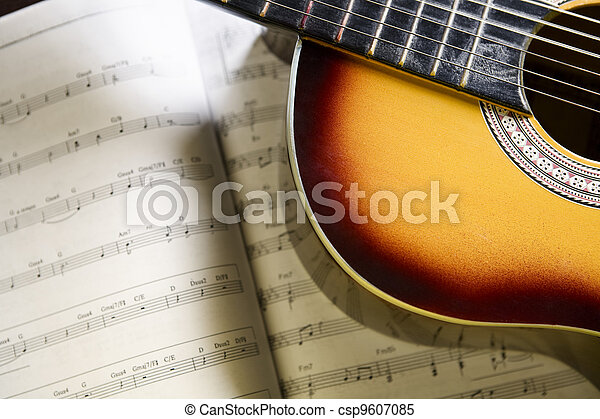 Classic guitar and music chords - csp9607085
