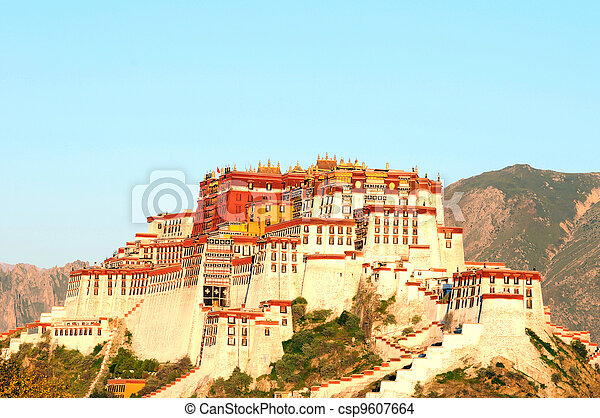 Landmark of the famous Potala Palace in Lhasa Tibet - csp9607664