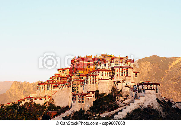 Landmark of the famous Potala Palace in Lhasa Tibet - csp9607668
