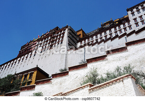 Landmark of the famous Potala Palace in Lhasa Tibet - csp9607742