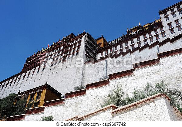 Landmark of the famous Potala Palace in Lhasa Tibet - csp9607742