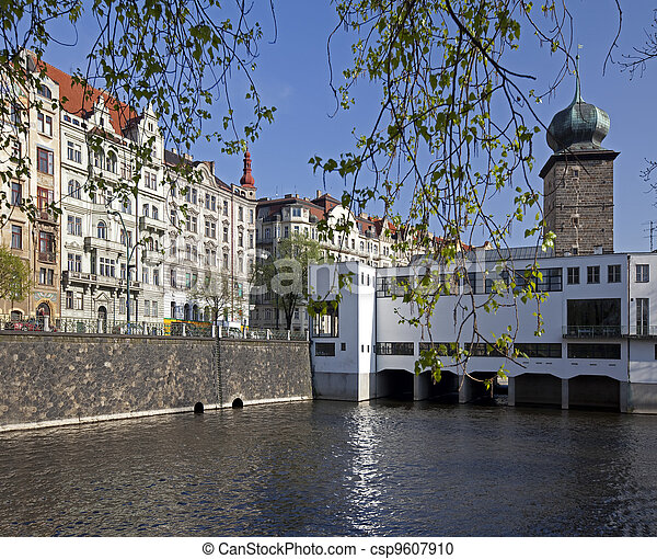 Prague, Vlata Water Tower and Manes Gallery, Czech Republic - csp9607910
