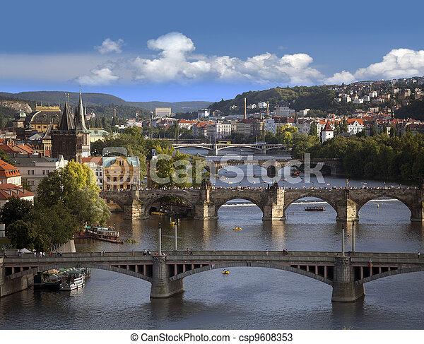 Prague - skyline with Vltava River bridges - csp9608353