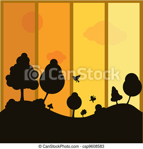 silhouettes plants background - csp9608583