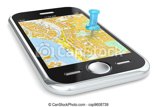 Navigation via Smart phone. - csp9608739