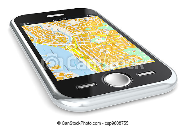 Smartphone and GPS map. - csp9608755
