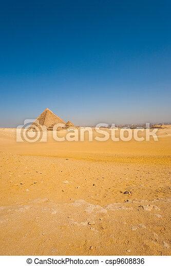 Sphinx Front Pyramids Vast Desert Cairo - csp9608836