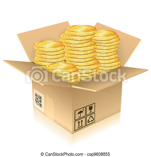 Cardboard Box with Gold Coins - csp9608855