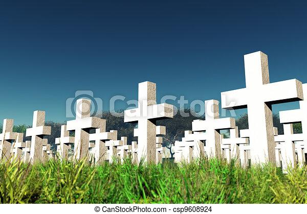 Military Cemetery under  Sky - csp9608924