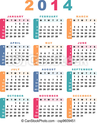 Calendar 2014 (week starts with sunday). - csp9609451