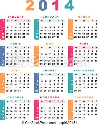 comienzos, calendario, sunday)., 2014, (week - csp9609451