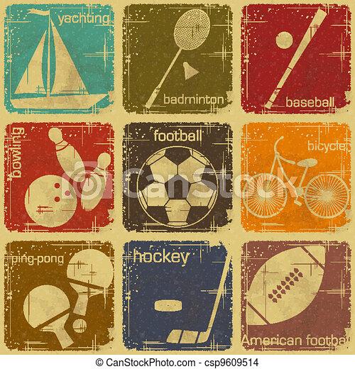 retro sport labels - csp9609514