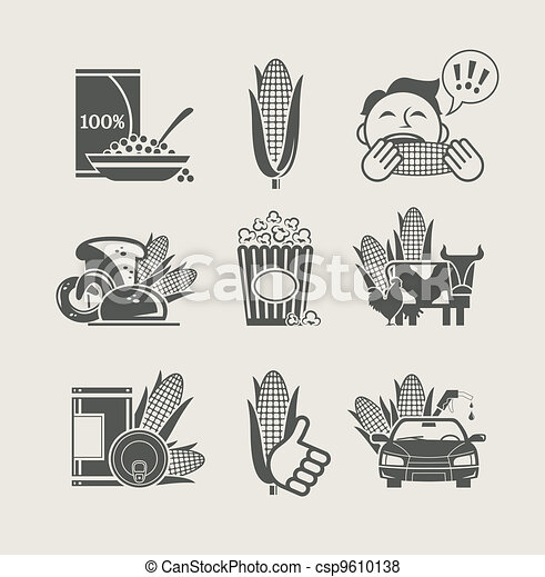 corn and products set icon - csp9610138