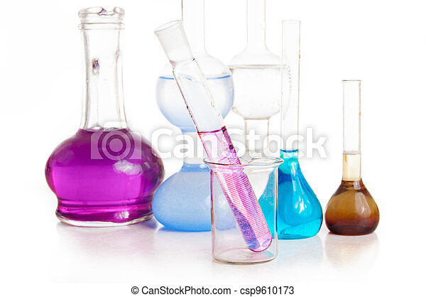 Test tubes and flasks with colorful liquids - csp9610173