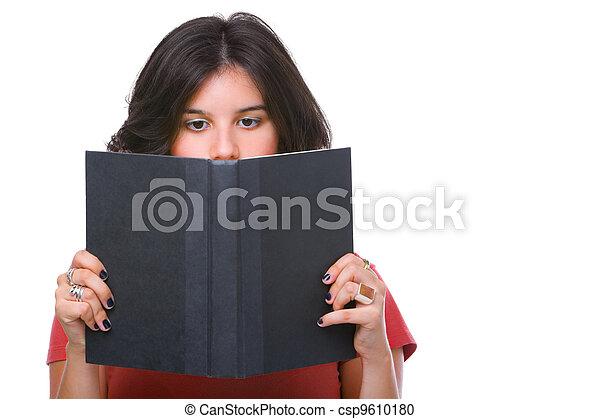 Female teenager reading book - csp9610180