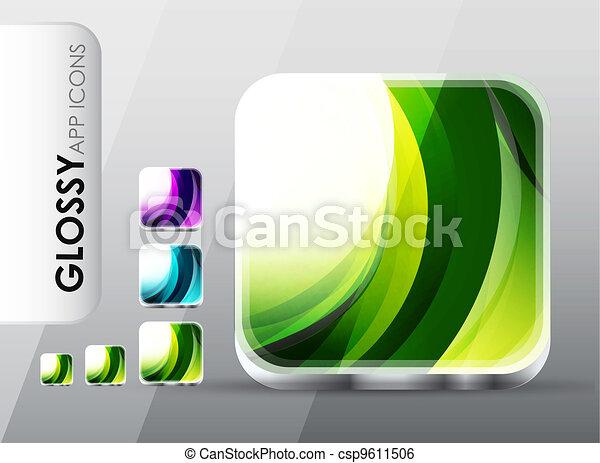 clip art vektor von app heiligenbilder vektor schablonen von gl nzend csp9611506. Black Bedroom Furniture Sets. Home Design Ideas