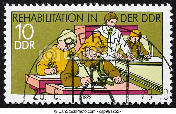 DDR - CIRCA 1979: a stamp printed in DDR shows Hospital Classroom, Rehabilitation in DDR, circa 1979 - csp9612527