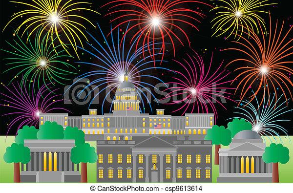 Washington DC Fourth of July Fireworks - csp9613614