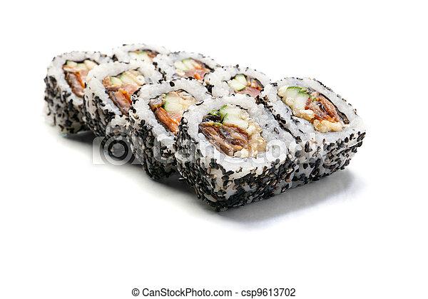 sushi rolls isolated on white background - csp9613702