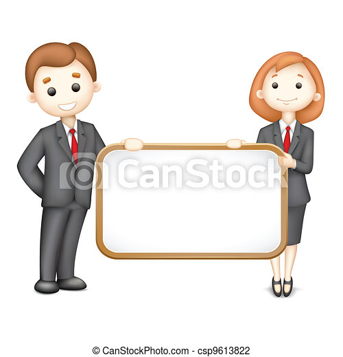 3d Business Man and Woman in Vector - csp9613822