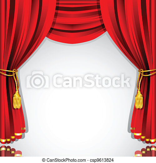 Elegant ... Stage Curtain   Illustration Of Silk Stage Curtain With.