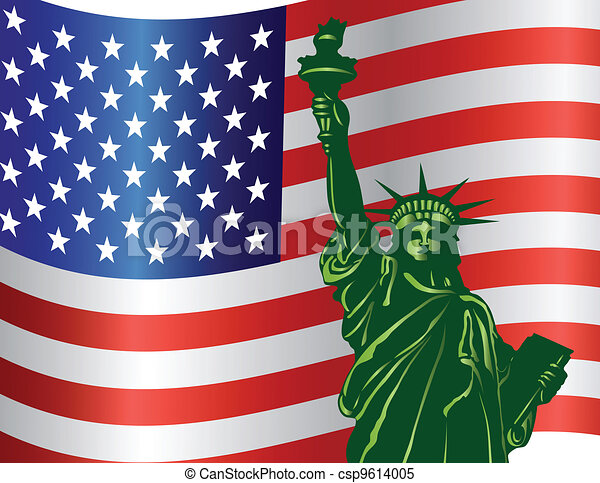 Fourth of July Statue of Liberty - csp9614005