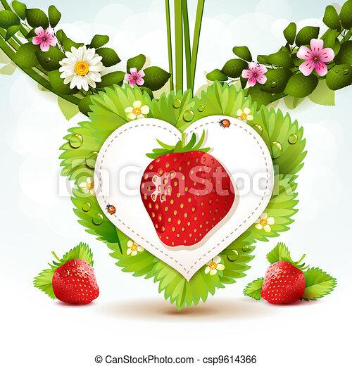 clip art vecteur de fraise sur coeur forme pousse feuilles csp9614366 recherchez des. Black Bedroom Furniture Sets. Home Design Ideas