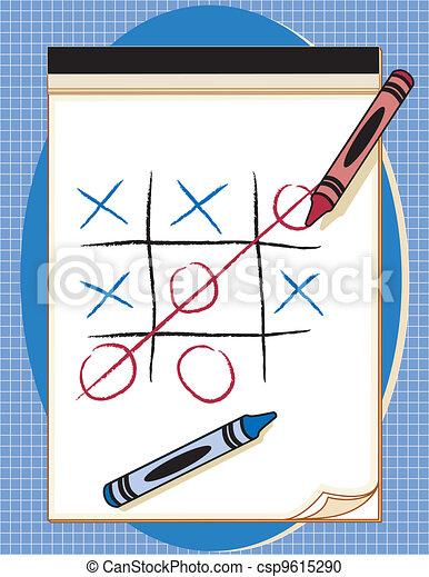 Game, Tic Tac Toe, Paper & Crayons - csp9615290