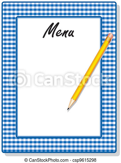 Menu, Blue Gingham Frame, Pencil - csp9615298