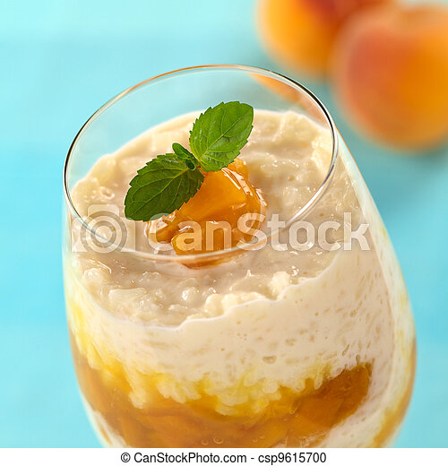 Rice Pudding with Peach Compote - csp9615700